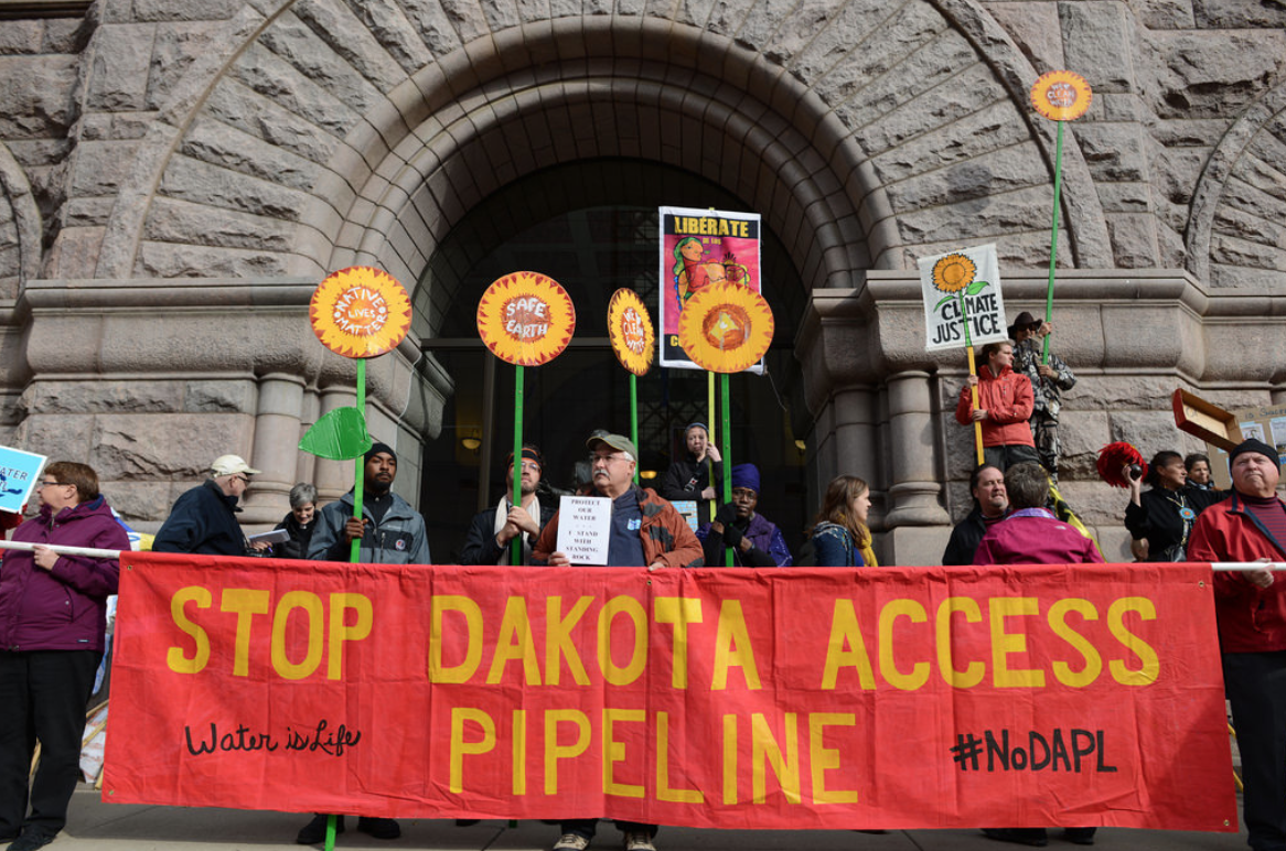 Activists protecting against pipeline.